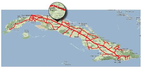 Railroads Kuuba Kartta Verkkosivusto Valokuvia