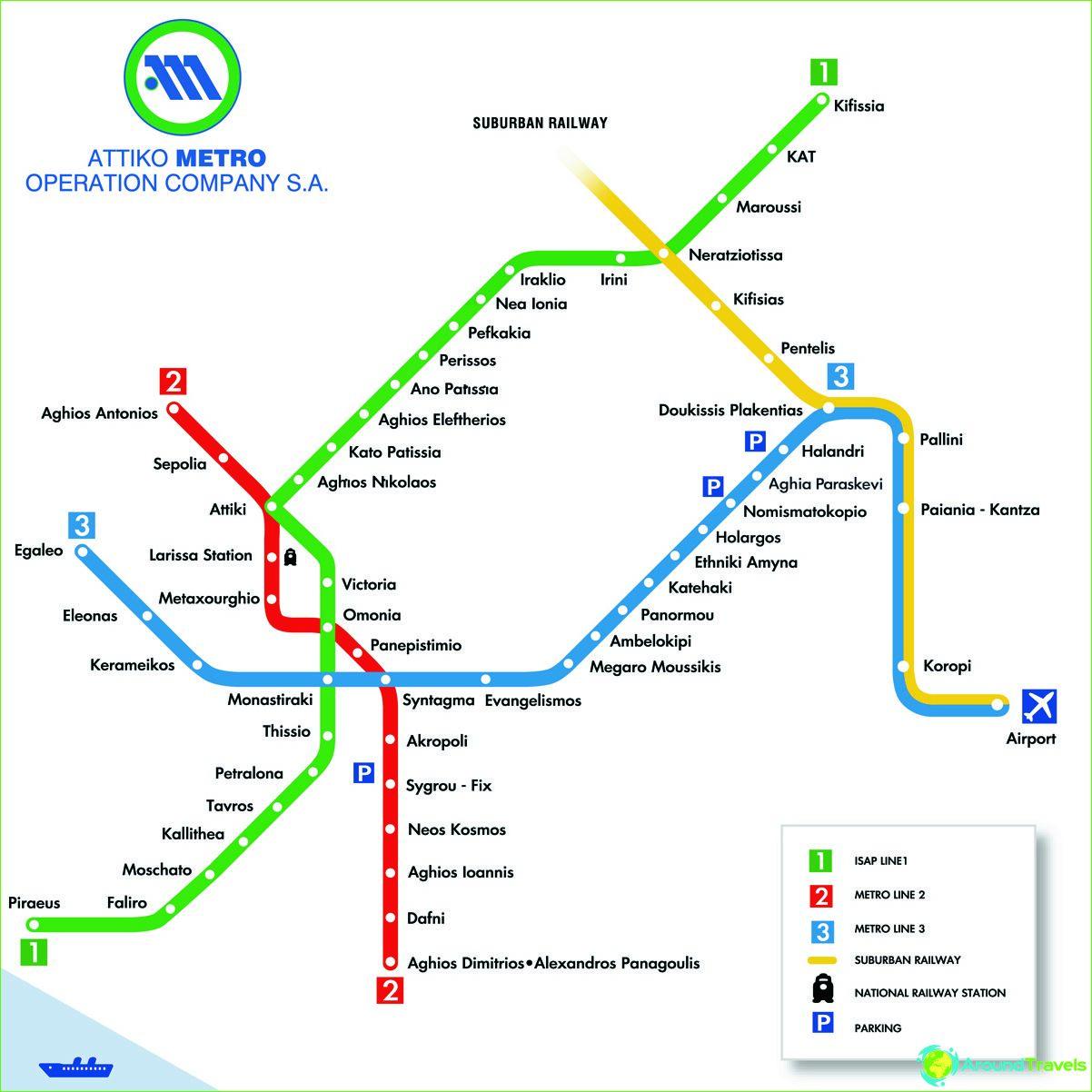 Athens Metro Diagram Beskrivelse Fotos Athens Metro Kort