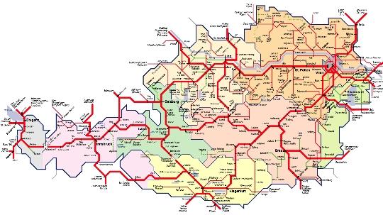 Zeljeznice Austrija Karta Web Stranica Fotografije