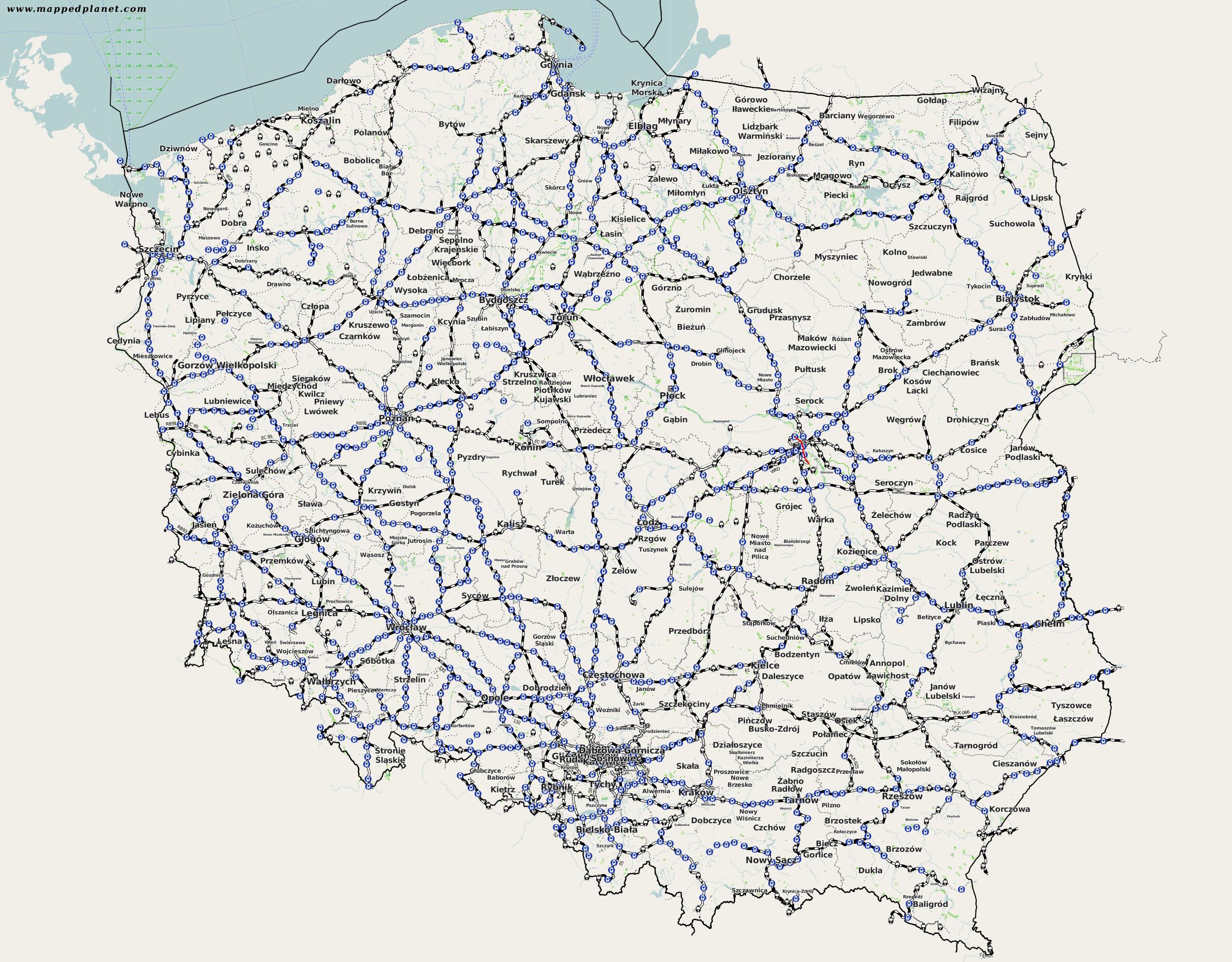 Rautatiet Puola Kartta Verkkosivuilla Valokuvia