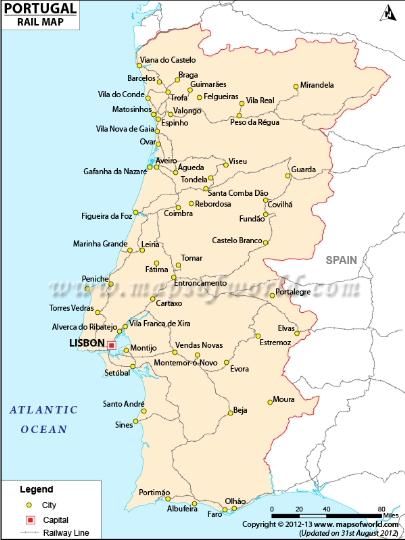 Rautatiet Portugali Kartta Verkkosivusto Valokuvia