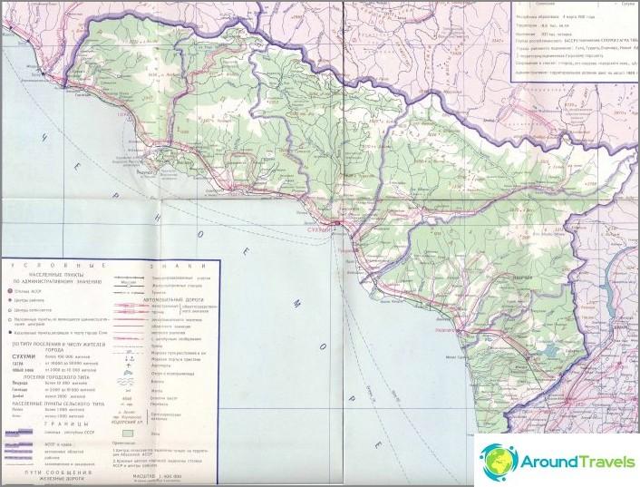 Podrobna Mapa Mesta Abchazie A Mesta Stredisek